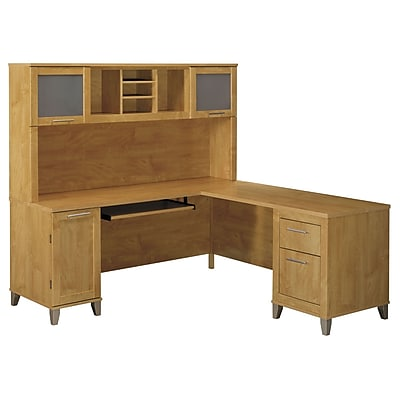 Bush Furniture Somerset 71W L Shaped Desk with Hutch, Maple Cross (SET001MC)