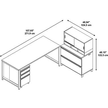 Bush – Bureau Momentum 72 x 30 po, 3 tir. mobiles, class. lat. 2 tir., étagère à portes 36 H po, érable naturel (MOM066AC)