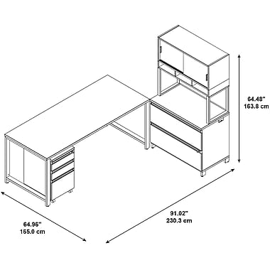 Bush – Bureau Momentum 72 x 30 po, 3 tir. mobiles, class. lat. 2 tir., étag. à portes et rehauss. 36 h. (po), cerisier moderne