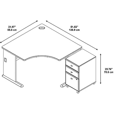 Bush Cubix Corner Desk with 3 Drawer Mobile Pedestal, Danish Oak/Sage (SRA035LOSU)
