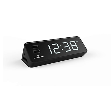 Marathon LED-USB Charging Stations & Clocks, Black