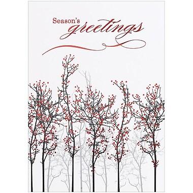 JAM Paper® – Ensemble de cartes de Noël vierges, design d'arbres, paq./25 cartes et enveloppes