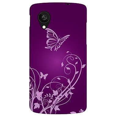 Exian Case for Nexus 5, Butterfly and flowers, Purple