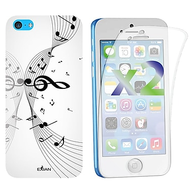 Exian Case for iPhone 5C, Musical Notes, White