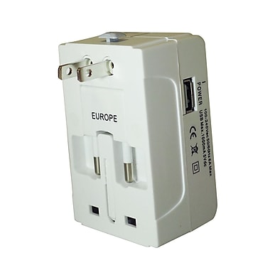 Exian Universal Converter/Adapter 100-240Vac 50/60Hz 6A/1000mAh 5V with 1 USB Port, White