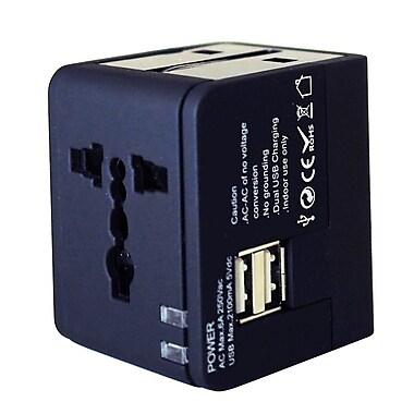 Exian - Adaptateur/convertisseur universel de 100 à 240 V c.a., 50/60 Hz, 6 A/2100 mAh, 5 V avec 2 ports USB, noir