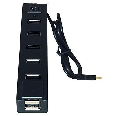 Exian - Concentrateur USB 2.0 haute vitesse à 7 ports de 480 Mb/s, noir