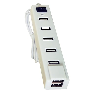 Exian USB 2.0 Hub High Speed X 7 Ports 480Mbps, White