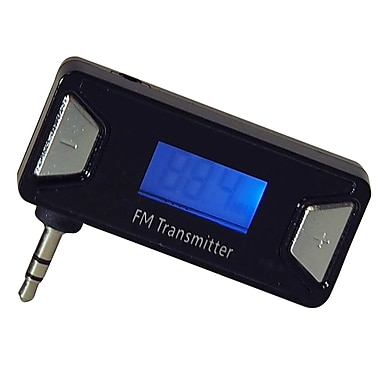 Exian Aux FM Transmitter Wireless with Silver Accents, Rectangular, Black