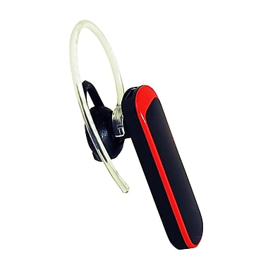 Exian Bluetooth Headset Round with Red Accents, Black