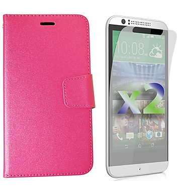 Exian Case for Desire 510 Wallet, Hot Pink