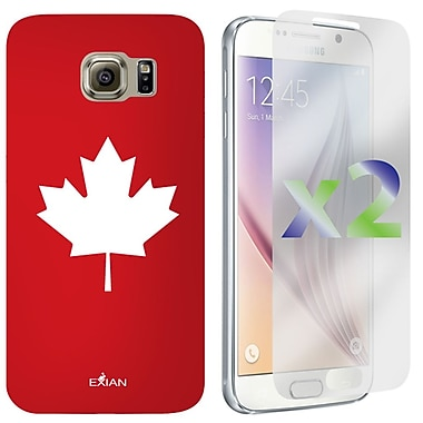 Exian Case for Galaxy S6 Maple Leaf, Red