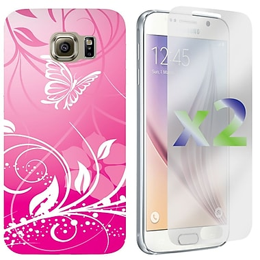 Exian Case for Galaxy S6, Flowers and Butterflies, Pink