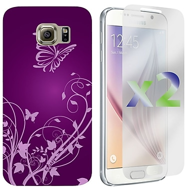 Exian Case for Galaxy S6, Flowers and Butterflies, Purple