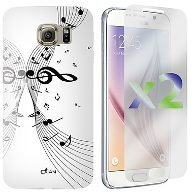 Exian Case for Galaxy S6, Musical Notes, White