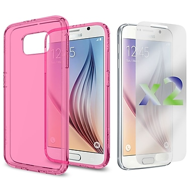 Exian Case for Galaxy S6, Transparent Case, Pink