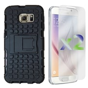 Exian Case for Galaxy S6 Armored Case with Stand, Black