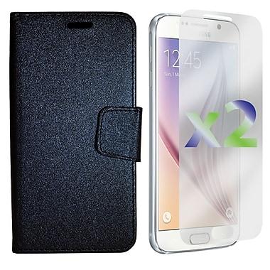 Exian Case for Galaxy S6, Textured Wallet, Black