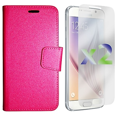 Exian Case for Galaxy S6, Textured Wallet, Hot Pink