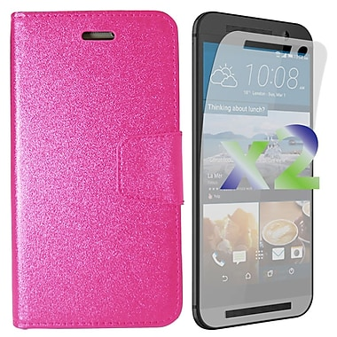 Exian Case for HTC One M9 Wallet, Hot Pink