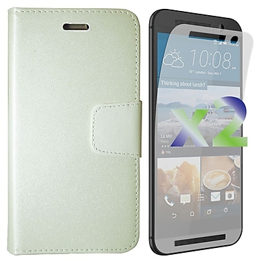 Exian Case for HTC One M9 Wallet, White