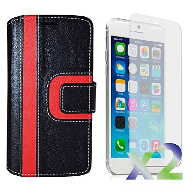 Exian Case for iPhone 6, Wallet Striped Pattern, Black and Red