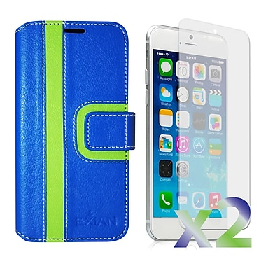 Exian Case for iPhone 6, Wallet Striped Pattern, Blue and Green