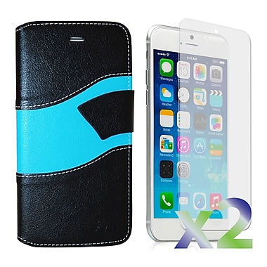 Exian Case for iPhone 6, Wallet Wave Pattern, Black and Blue