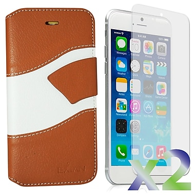 Exian Case for iPhone 6, Wallet Wave Pattern, Beige and White