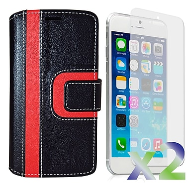 Exian Case for iPhone 6 Plus, Wallet Striped Pattern, Black and Red