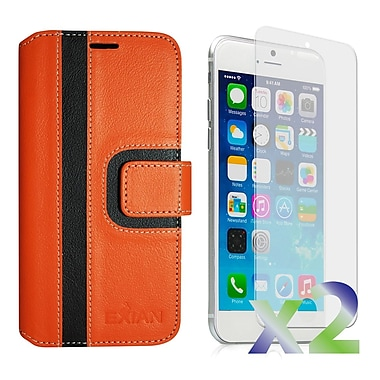 Exian Case for iPhone 6 Plus, Wallet Striped Pattern, Orange and Black
