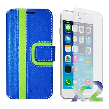 Exian Case for iPhone 6 Plus, Wallet Striped Pattern, Blue and Green