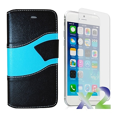 Exian Case for iPhone 6 Plus, Wallet Wave Pattern, Black and Blue