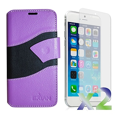 Exian Case for iPhone 6 Plus, Wallet Wave Pattern, Purple and Black