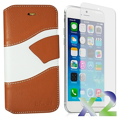 Exian Case for iPhone 6 Plus, Wallet Wave Pattern, Beige and White