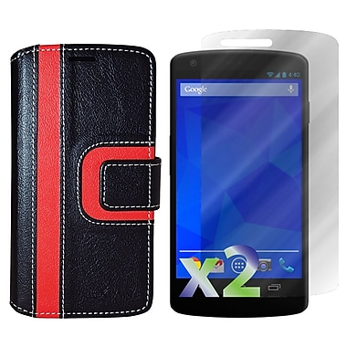 Exian Case for Nexus 5, Wallet Striped Pattern, Black and Red