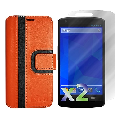 Exian Case for Nexus 5, Wallet Striped Pattern, Orange and Black