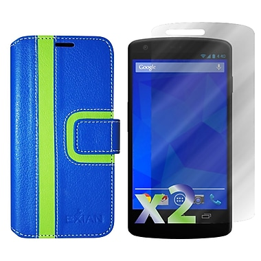 Exian Case for Nexus 5, Wallet Striped Pattern, Blue and Green