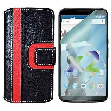 Exian Case for Nexus 6, Wallet Striped Pattern, Black and Red