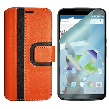 Exian Case for Nexus 6, Wallet Striped Pattern, Orange and Black