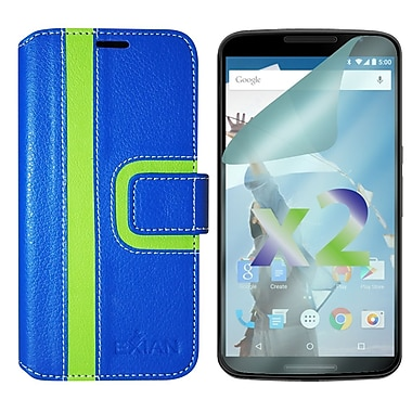 Exian Case for Nexus 6, Wallet Striped Pattern, Blue and Green