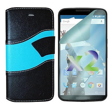 Exian Case for Nexus 6, Wallet Wave Pattern, Black and Blue