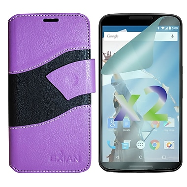 Exian Case for Nexus 6, Wallet Wave Pattern, Purple and Black