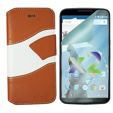 Exian Case for Nexus 6, Wallet Wave Pattern, Beige and White