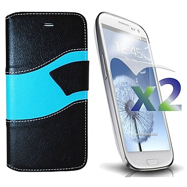 Exian Case for Galaxy S3 Wallet Wave Pattern, Black and Blue