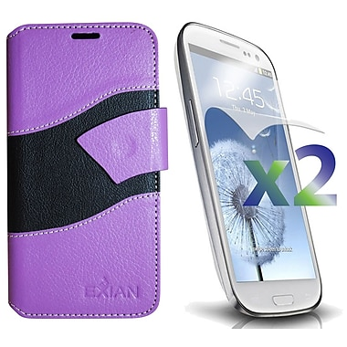 Exian Case for Galaxy S3 Wallet Wave Pattern, Purple and Black