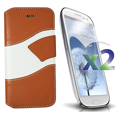 Exian Case for Galaxy S3 Wallet Wave Pattern, Beige and White