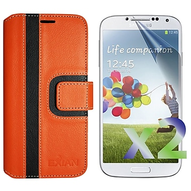 Exian Case for Galaxy S4 Wallet Striped Pattern, Orange and Black