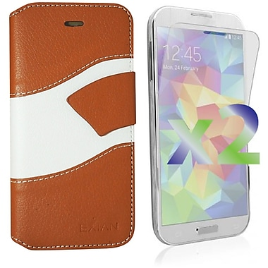 Exian Case for Galaxy S5 Wallet Wave Pattern, Beige and White