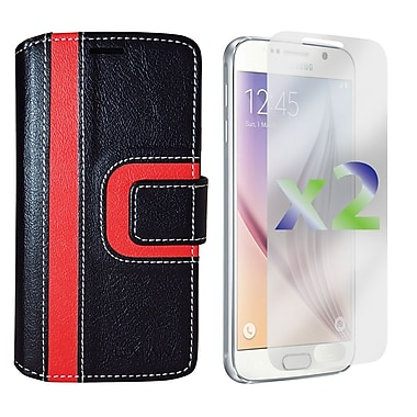 Exian Case for Galaxy S6, Wallet Striped Pattern, Black and Red